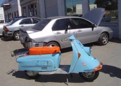 Blue scooter paint job